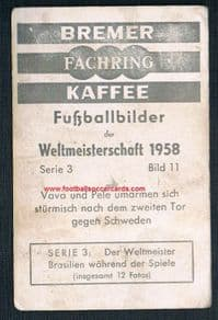 1958 Bremer rookie Pelé exceedingly rare German World Cup '58 card + faults LOW PRICE!  s/p £1,750